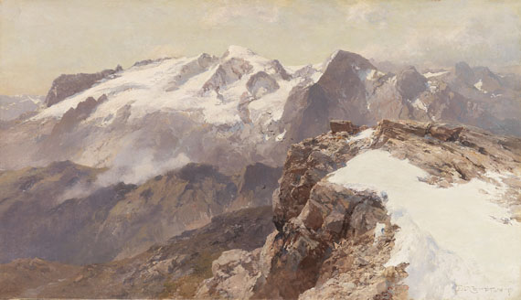 Edward Theodore Compton - Ansicht der Marmolata vom Piz Boè aus