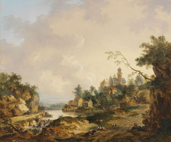 Ferdinand Kobell - Ideale Flußlandschaft mit Schloß, Wasserfall und Personenstaffage