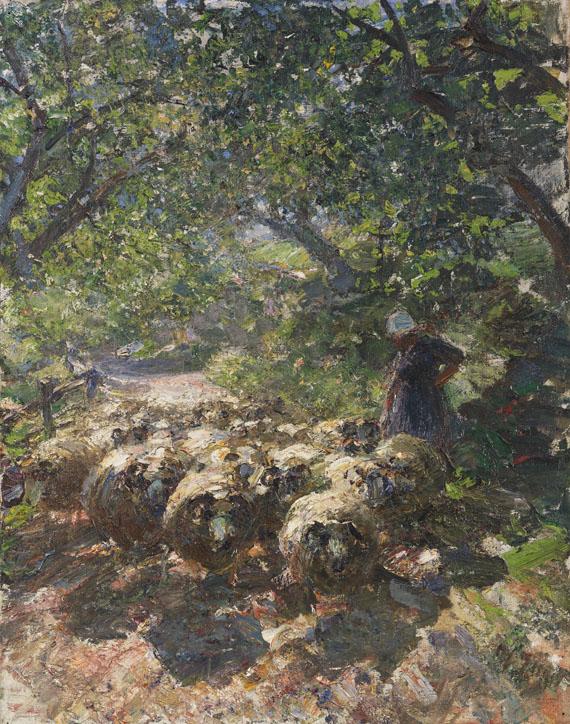Heinrich von Zügel - Schafherde mit Hirtin im schattigen Hohlweg
