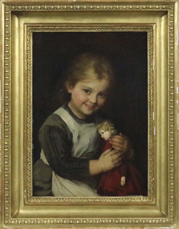 Franz von Defregger - Kind mit Puppe - Rahmenbild