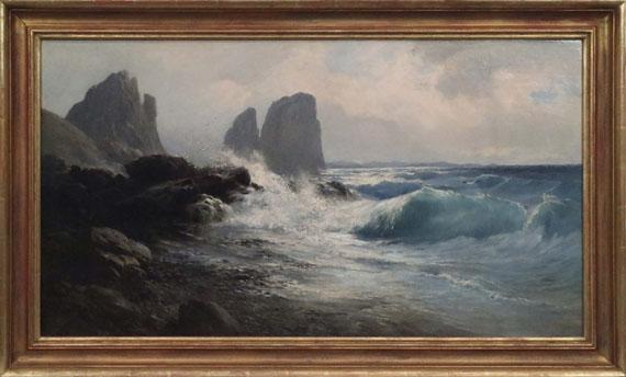 Edward Theodore Compton - Die Faraglioni-Felsen vor der Küste von Capri - Rahmenbild