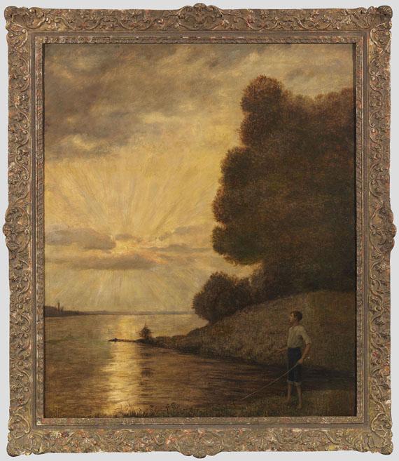 Hans Thoma - Sonnenuntergang am Oberrhein - Rahmenbild