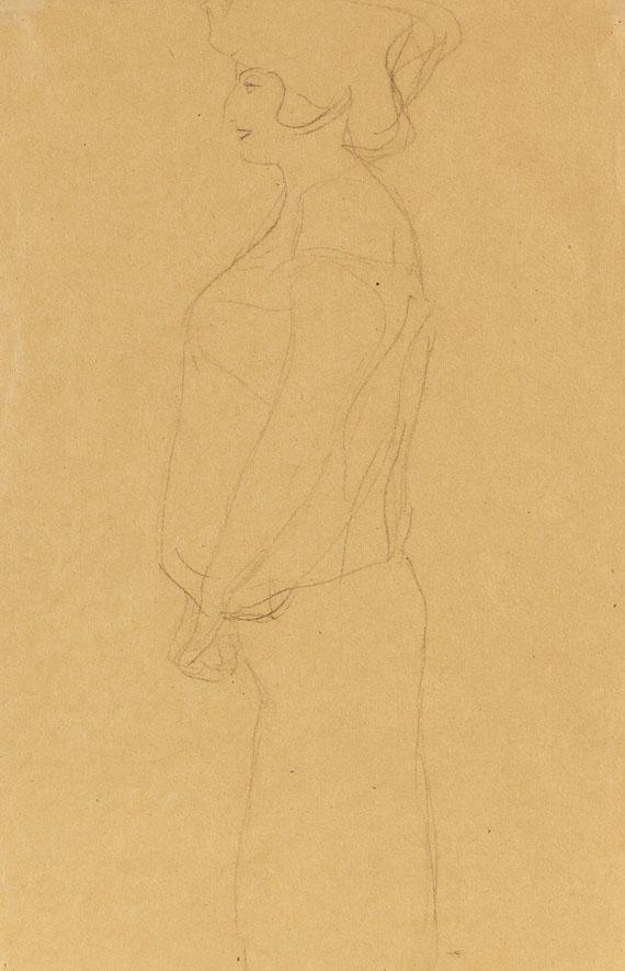 """Gustav Klimt - Schwangere im Profil nach links, Studie zu """"Hoffnung I"""""""