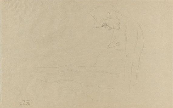 """Gustav Klimt - Mit ausgestreckten Beinen nach links sitzende nackte Schwangere, Studie zu """"Hoffnung II"""""""