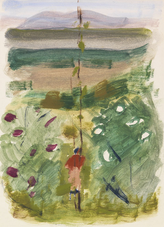 Oskar Schlemmer - Landschaft mit Rückenfigur zwischen Büschen