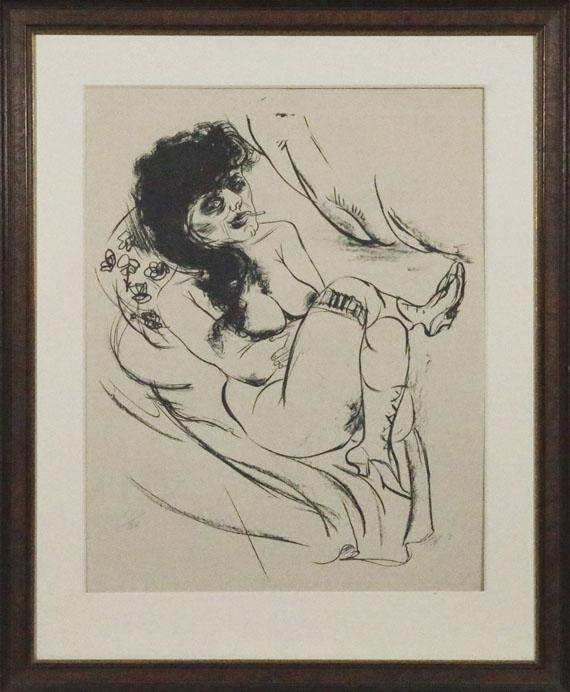 Otto Dix - Liegender Akt (Sitzende mit Zigarette) - Frame image