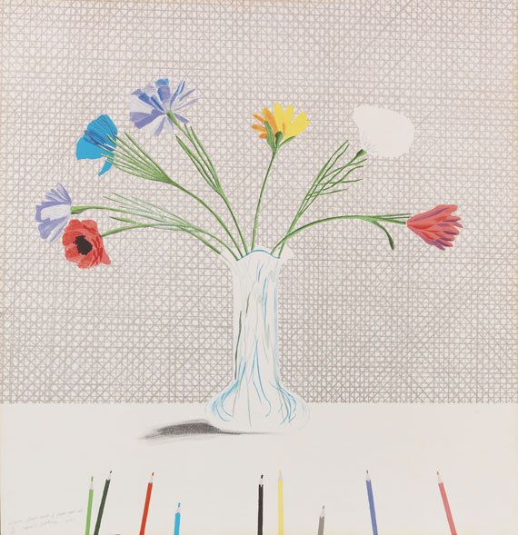 Hockney - Coloured flowers made of paper and ink