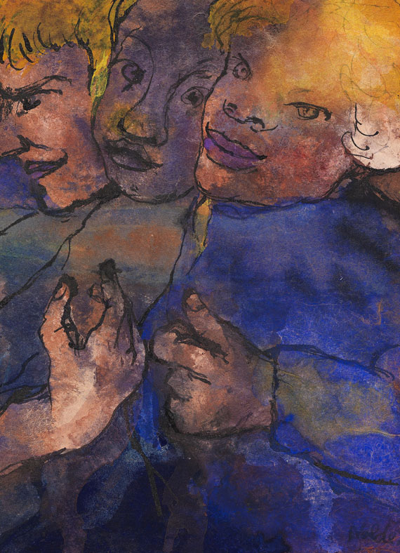 Emil Nolde - Drei Halbfiguren mit gelbem Haar und blauer Kleidung