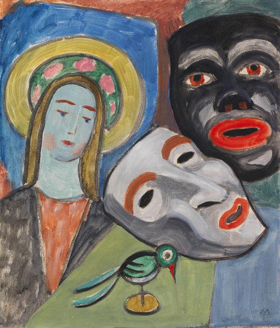 Gabriele Münter - Madonna mit grünem Vogel und zwei Masken