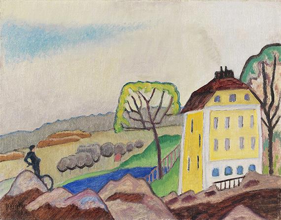 Gabriele Münter - Landschaft mit gelbem Haus