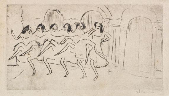 Ernst Ludwig Kirchner - Sechs Tänzerinnen vor Bogendekoration (Englisches Ensemble)
