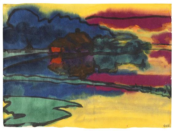 Emil Nolde - Landschaft um Utenwarf (Wiedau-Niederung mit Hof Petersen)