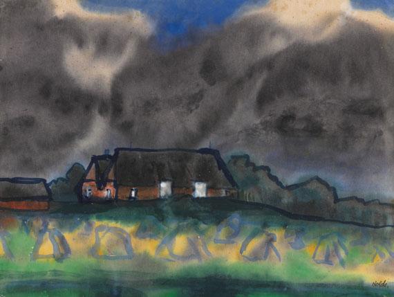 Emil Nolde - Bauernhof (Hof Hülltoft) in Nordfriesland mit Korndiemen