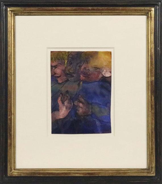 Emil Nolde - Drei Halbfiguren mit gelbem Haar und blauer Kleidung - Frame image