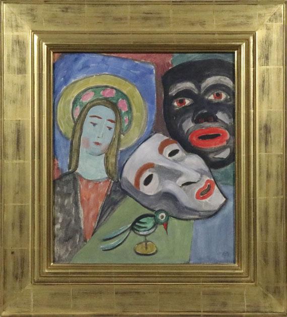 Gabriele Münter - Madonna mit grünem Vogel und zwei Masken - Frame image