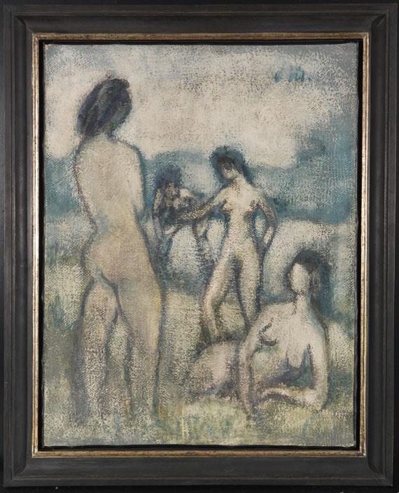 Otto Mueller - Vier Badende (Stehende und liegende weibliche Akte, Badende, Vier lebensgroße Akte auf der Wiese) - Rahmenbild