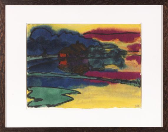 Emil Nolde - Landschaft um Utenwarf (Wiedau-Niederung mit Hof Petersen) - Rahmenbild