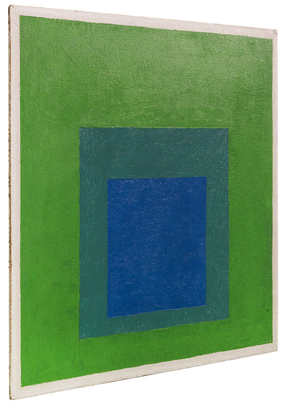 Josef Albers - Squares: Blue and Cobalt Green in Cadmium Green - Weitere Abbildung