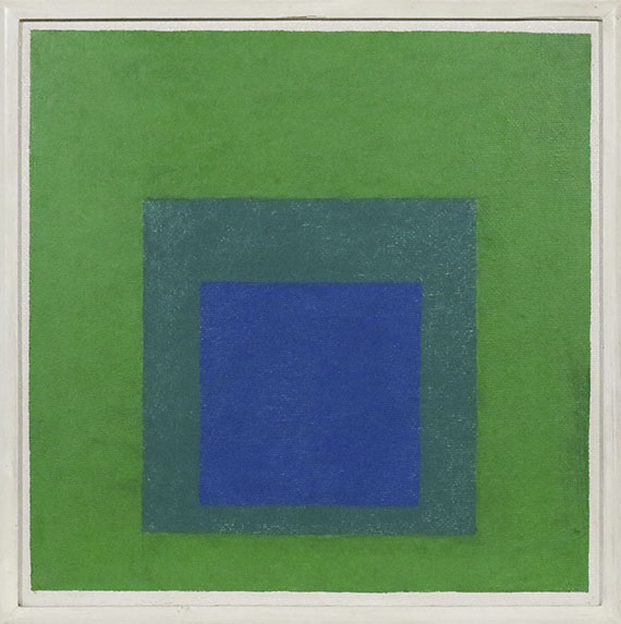 Josef Albers - Squares: Blue and Cobalt Green in Cadmium Green - Rahmenbild