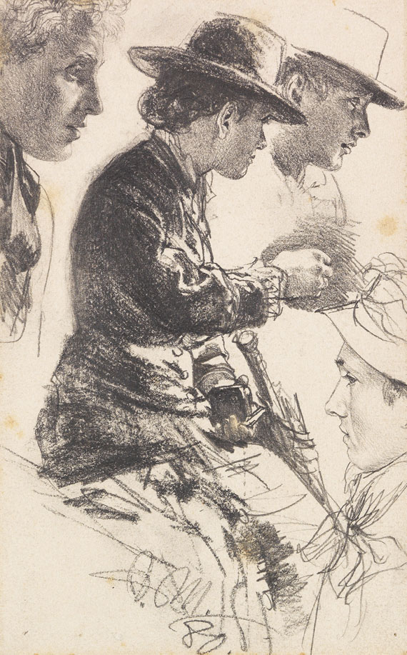 Adolph von Menzel - Studie einer sitzenden Dame mit Hut, Schirm und Geldbörse