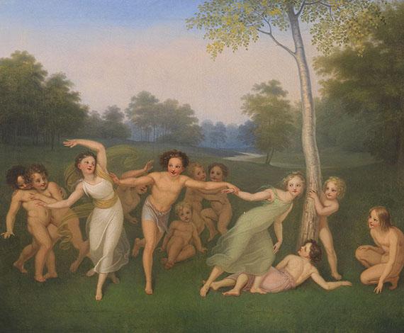 Moritz August Retzsch - 4 Gemälde: Die Jahreszeiten (Lebenszyklus)