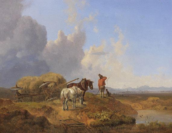 Heinrich Bürkel - Der umgestürzte Heuwagen