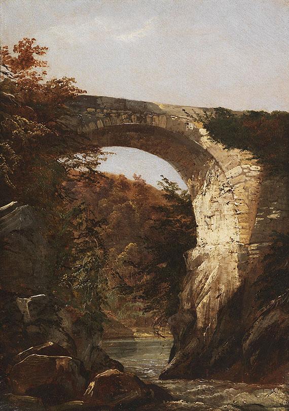 Eduard Pape - Kleine Schlucht mit hoher Steinbrücke