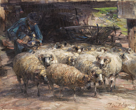 Heinrich von Zügel - Schäfer mit Herde am Brunnen