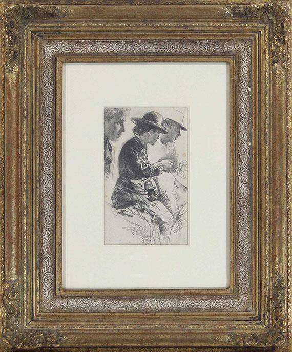 Adolph von Menzel - Studie einer sitzenden Dame mit Hut, Schirm und Geldbörse - Frame image