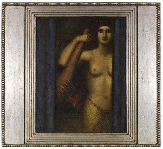 Adolf Frey-Moock - Amazone mit Keule und Köcher - Rahmenbild