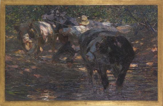 Heinrich von Zügel - Treiber mit drei Bullen im Bienwaldbach - Rahmenbild