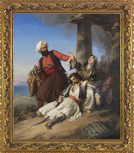 Paul Emil Jacobs - Szene aus dem Griechischen Freiheitskampf - Rahmenbild