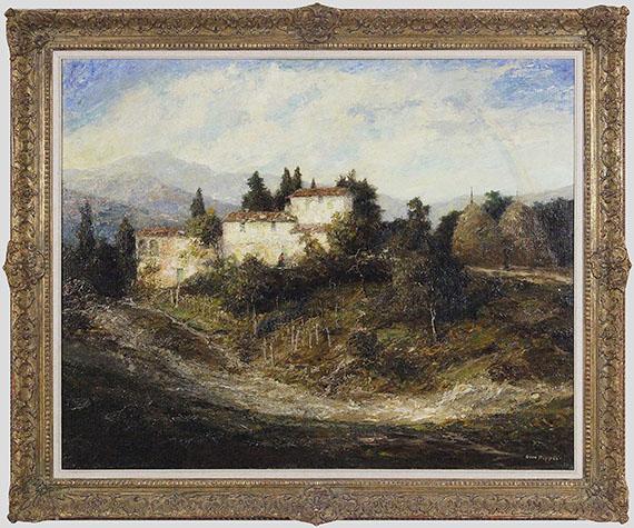 Otto Pippel - Sommerliche Landschaft in der Toscana - Rahmenbild