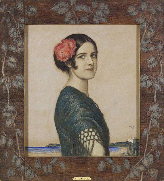 Franz von Stuck - Tochter Mary als Spanierin - Rahmenbild