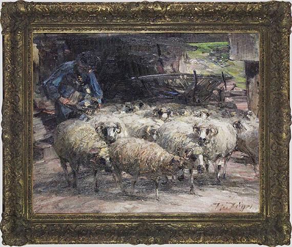 Heinrich von Zügel - Schäfer mit Herde am Brunnen - Rahmenbild