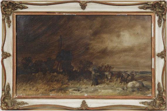 Wilhelm Busch - Wiedensahler Bockmühle bei aufziehendem Sturm - Frame image