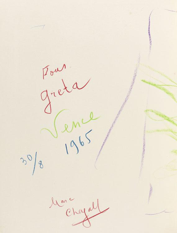 Marc Chagall - Ohne Titel: Pour Greta, Vence 30/8 1965