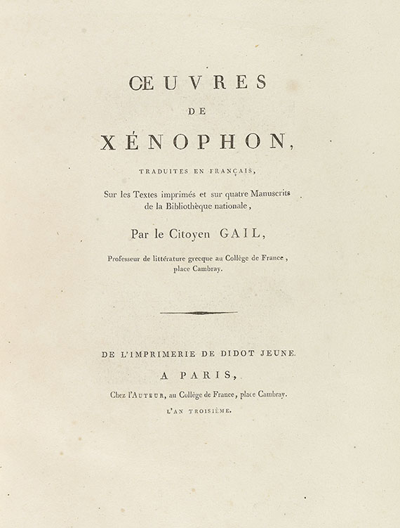 Xenophon - Oeuvres. 2 Bde. 1795