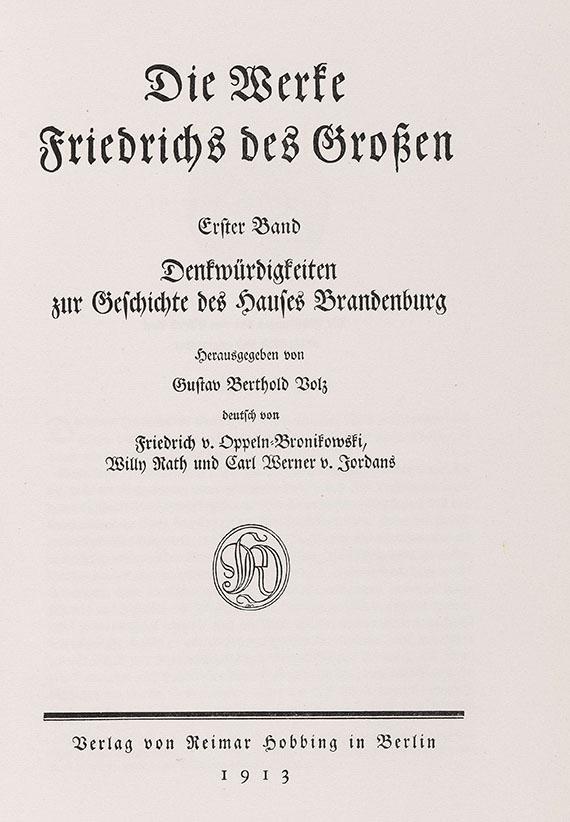 Friedrich II. der Große - Die Werke Friedrichs des Großen. 12 Bde.