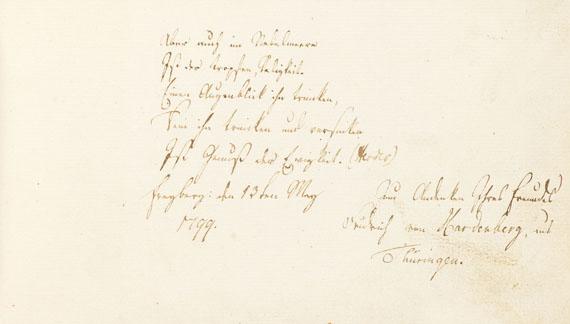 Novalis - Stammbuch aus Freiberg mit Eintragung von Novalis. 1798-1811.