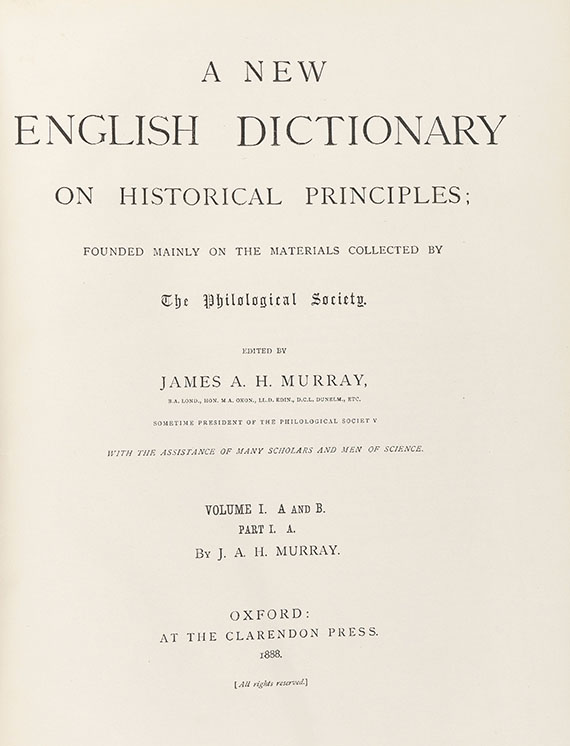 James A. H. Murray - A new English Dictionary. 21 Bde. - Weitere Abbildung