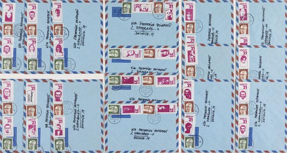 """Martin Kippenberger - Slg. 15 Briefumschläge mit Briefmarken """"21 Jahre unter Euch"""""""