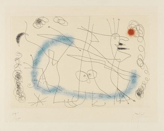 "Joan Miró - Strip-tease In Blue. Dabei: 1 Bl. Lithografie ""Ohne Titel"", 1952."