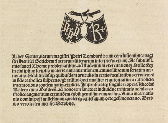 Petrus Lombardus - Sententiarum libri. 1488 -
