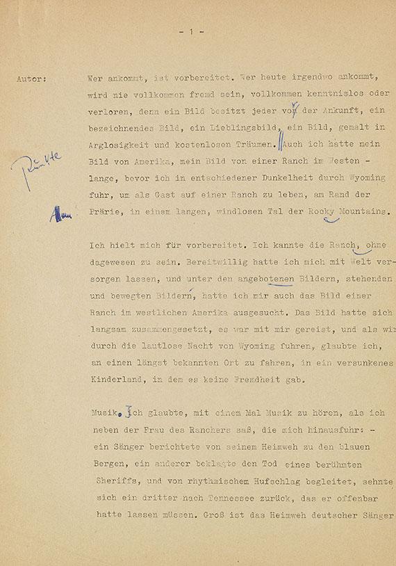 """Siegfried Lenz - Typoskript """"Sonntag eines Rauchers"""""""