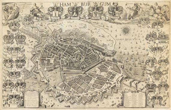 Pietersen, Arnoldus - 1 Bl. Hamburgum ... Novam hanc civitatis Hamburgensis (Arent Pietersen), 1644