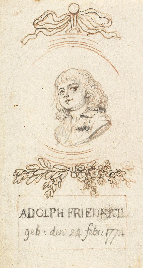 Daniel Chodowiecki - 3 Bll. Vorzeichnungen + 2 Bll. Radierungen (Porträts), auf 3 Bll. - Weitere Abbildung