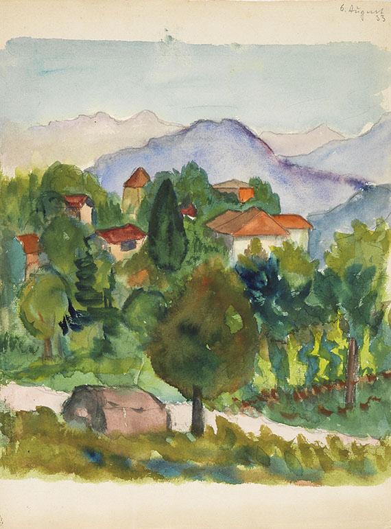 Hermann Hesse - 1 Original-Aquarell mit Ansicht von Tessin
