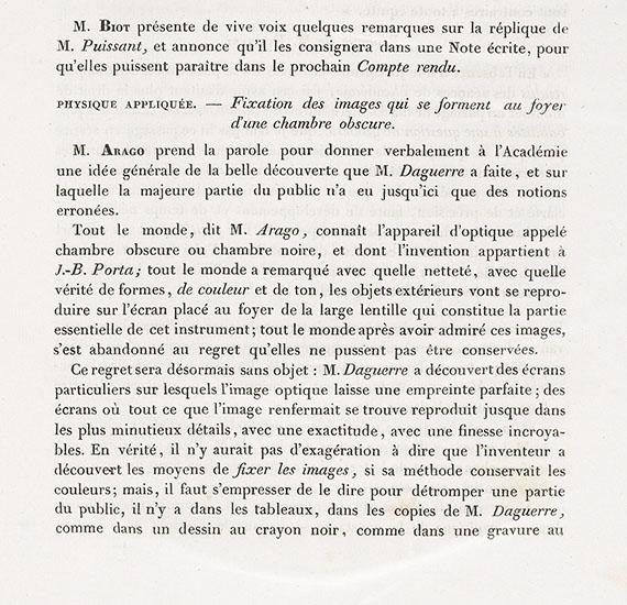 Daguerre, Louis Jacque Mandé - Compte rendu des séances de l'académie des sciences. Beiträge von Arago u.a.