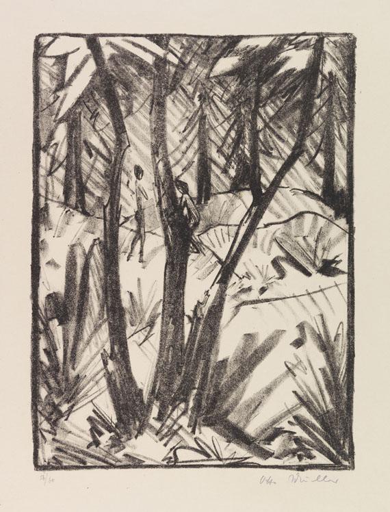 Otto Mueller - Waldlandschaft mit kleinen Figuren (2)